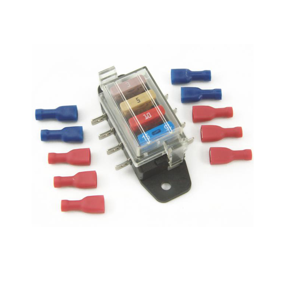 4-Way Blade Fuse Box with Fuses