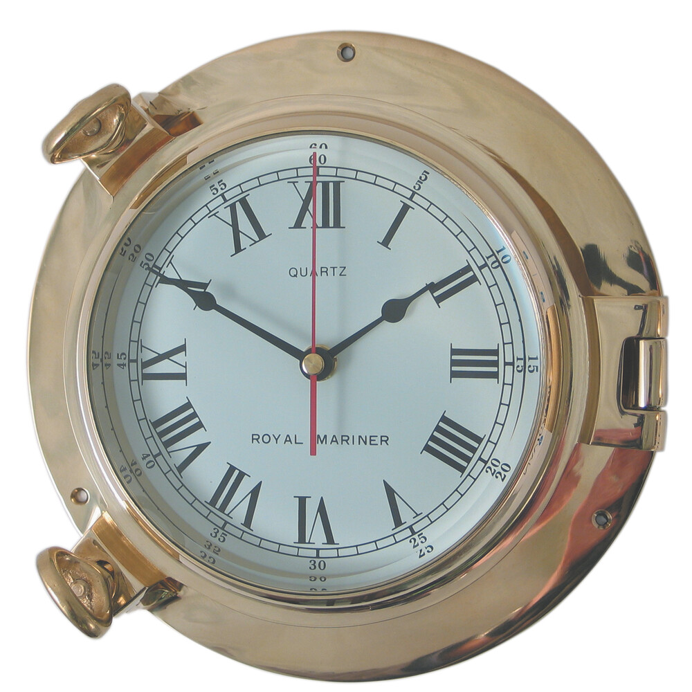 "6"" Brass Porthole Clock"
