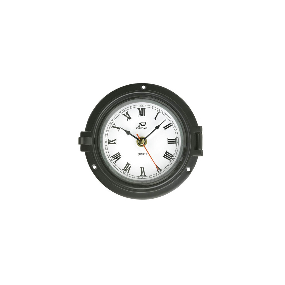 "4 1/2"" Black Chrome Porthole Clock"