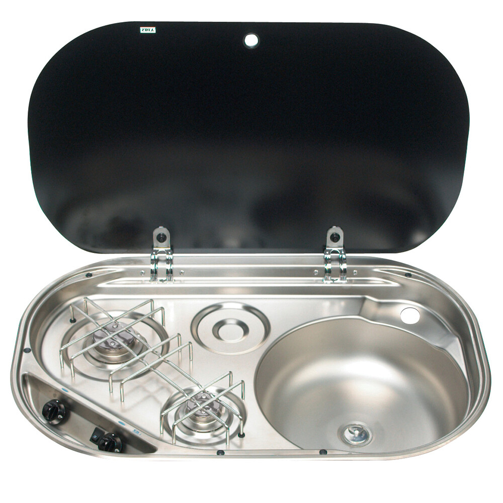 2-Burner Hob/Sink/Glass Lid