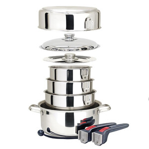 Stainless Steel 9 Piece Nesting Cookware Set