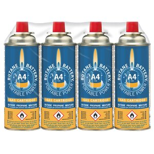 Pack of 4 220gm Butane Gas Cylinders