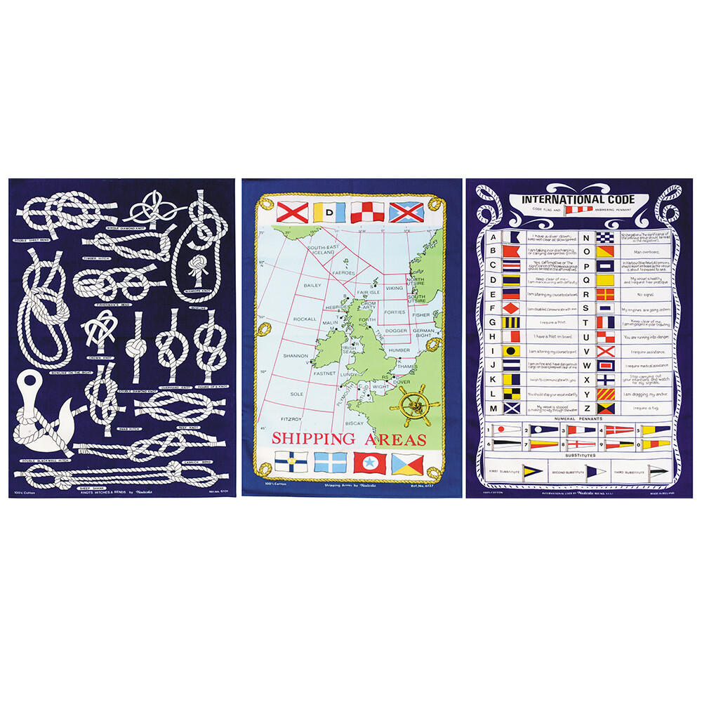 Set of 3 Nautical Tea Towels