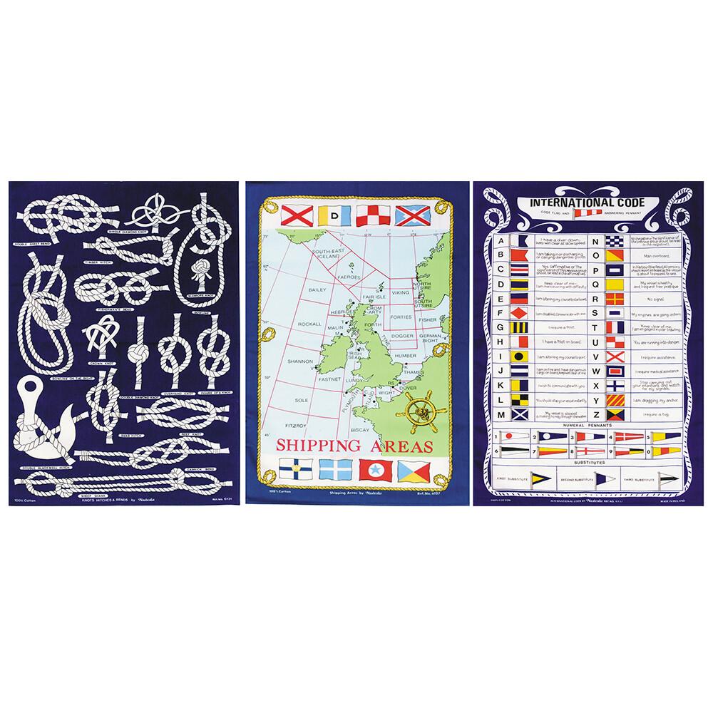 Set of 3 Nautical Tea Towels