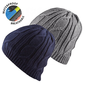 Waterproof Cable Knit Beanie Grey