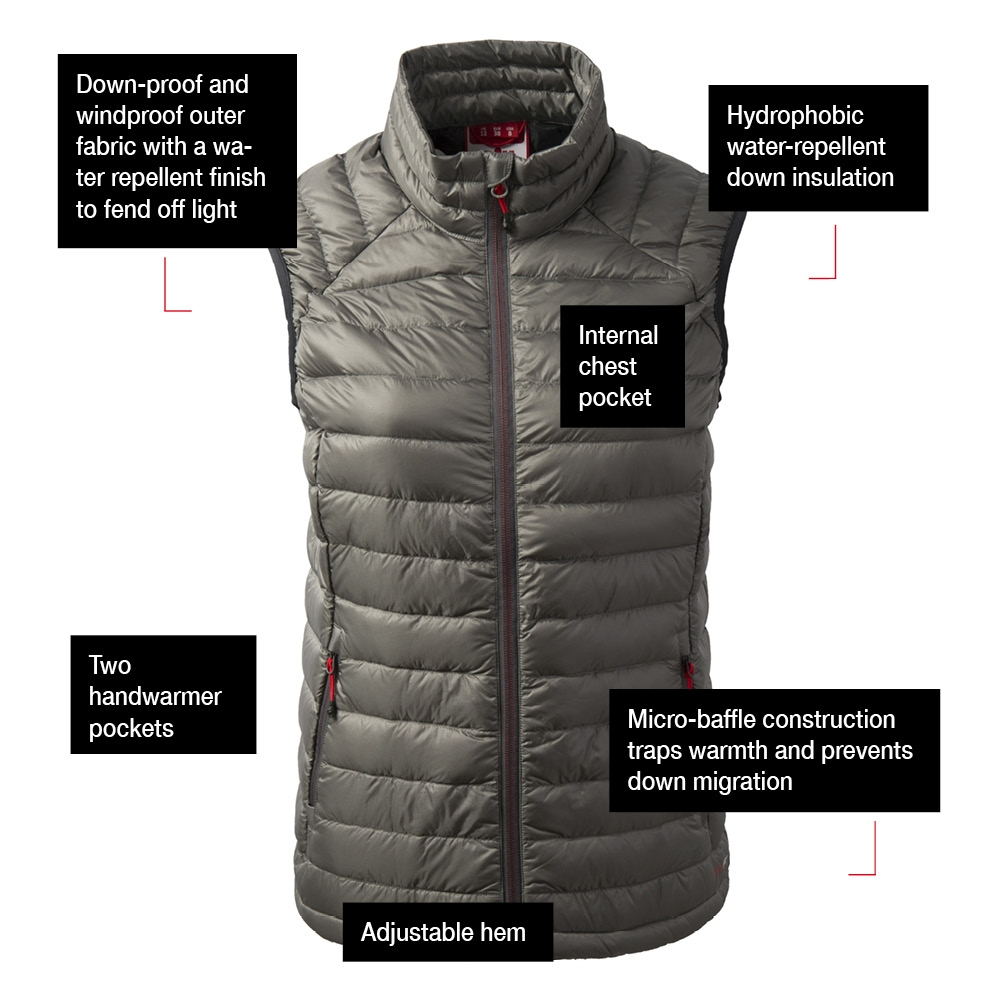Women's Hydrophobe Down Gilet - Charcoal