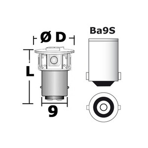 LED 5-Chip Bulb BA9S
