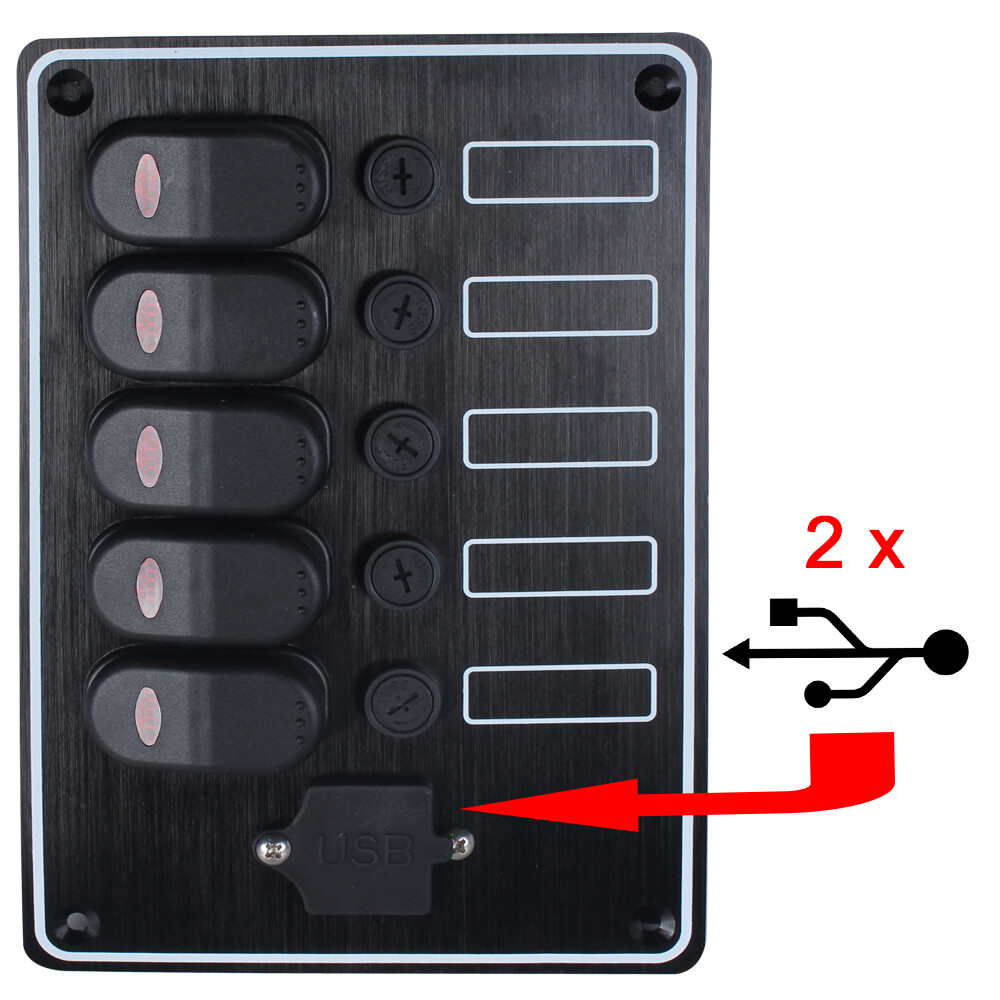 5 Gang Waterproof Switch Panel with USB Socket