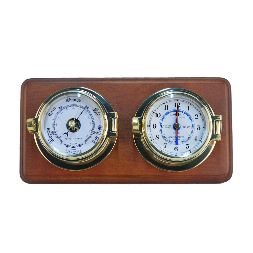Mounted Channel Tide Clock & Barometer Set