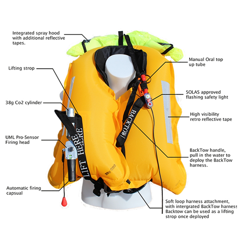 Offshore Backtow 170N Automatic Lifejacket Black