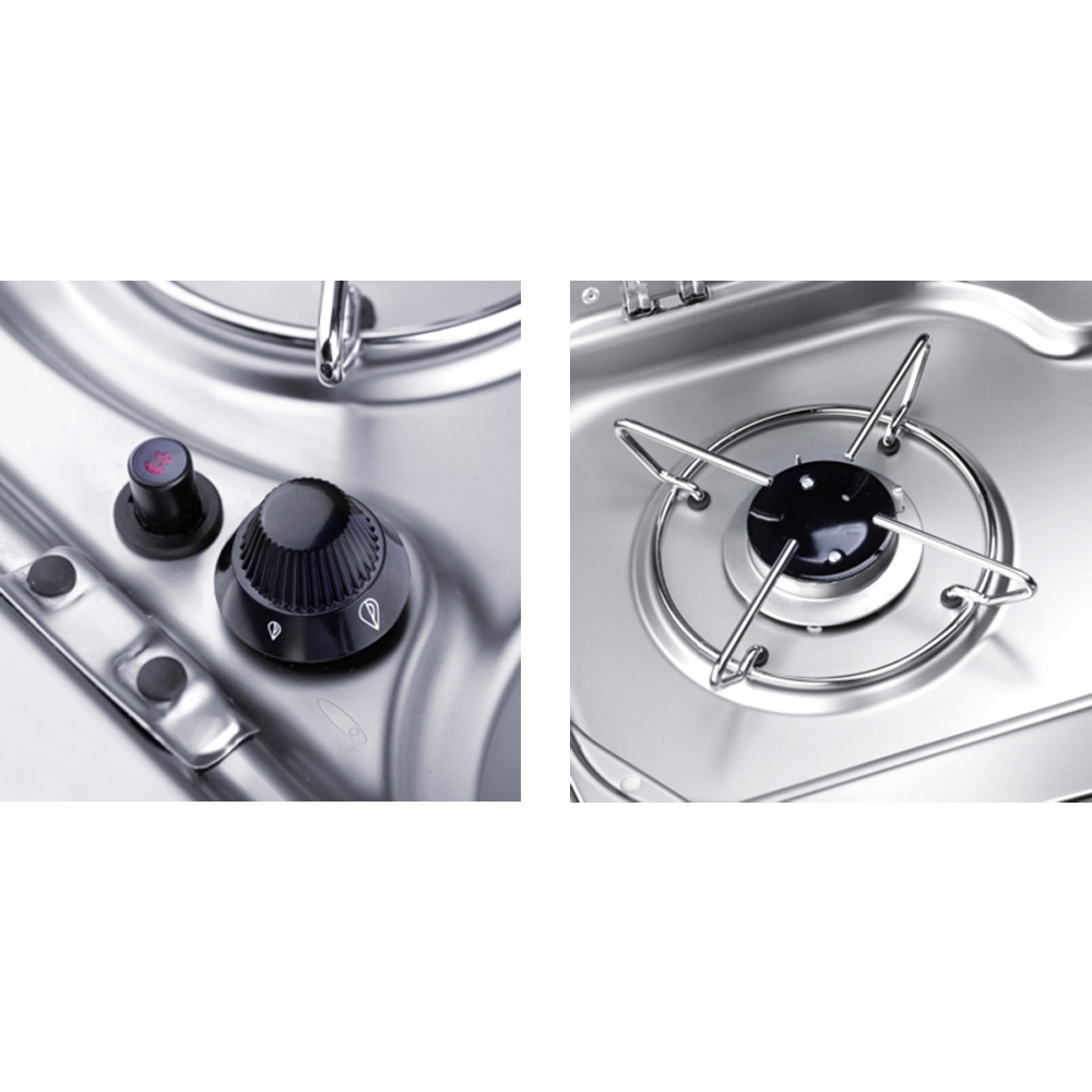 2 Burner Hob/Sink with Glass Lids