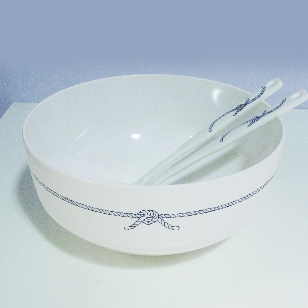 Blue Rope Melamine Salad Bowl & Serving Spoons