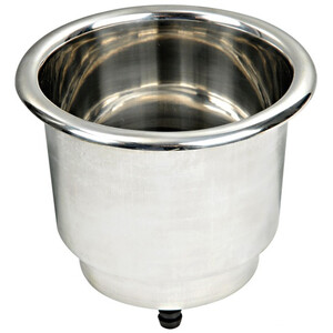 Recessed Glass/Can Holder with Drain - Stainless Steel
