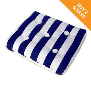 Kapok Cushion Single Blue & White