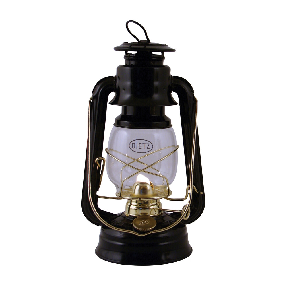 Hurricane Lamp - Black/Brass