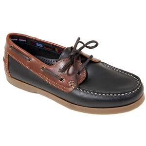 Deck Shoe - leather in Navy/Brown