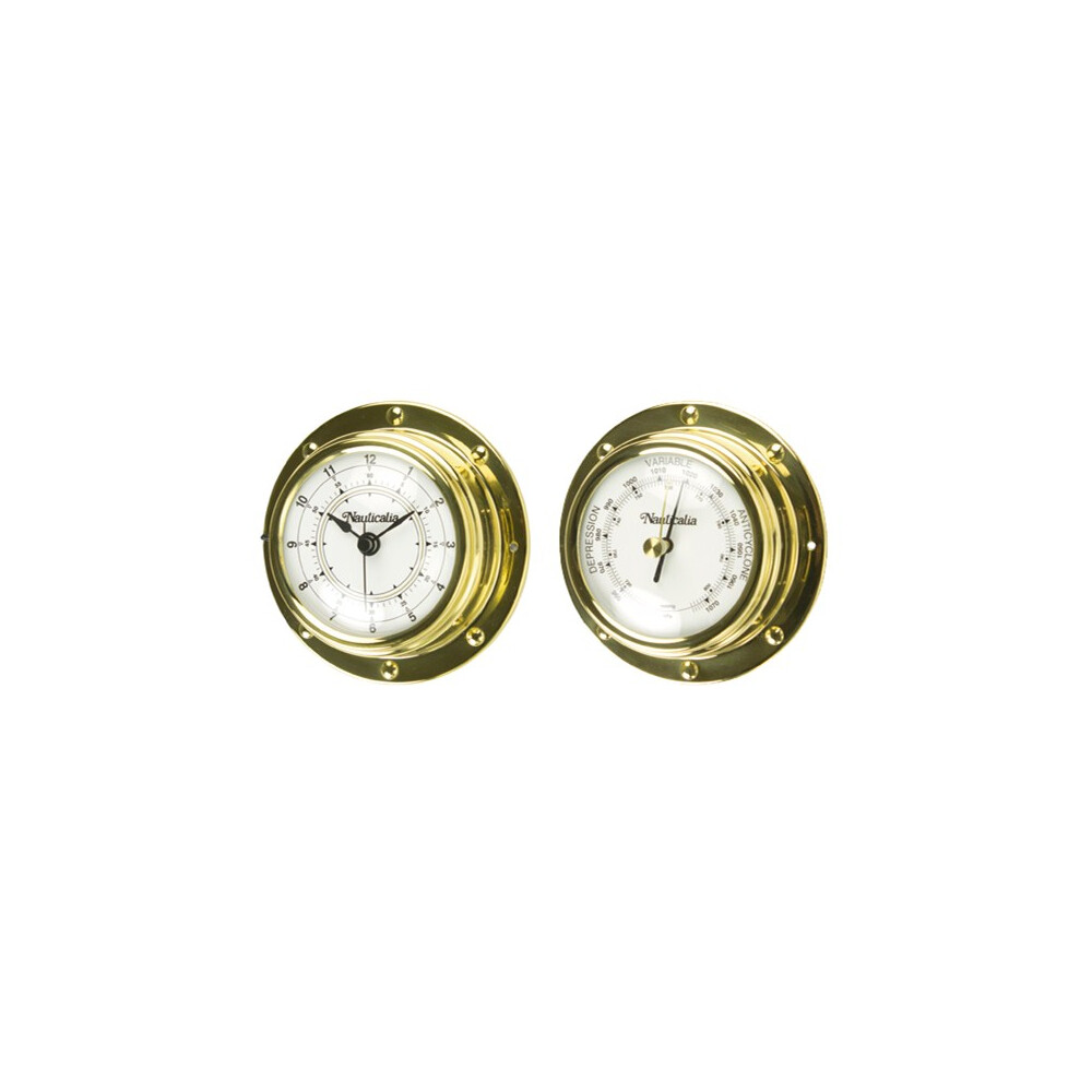 Brass Rivet Style Clock or Barometer