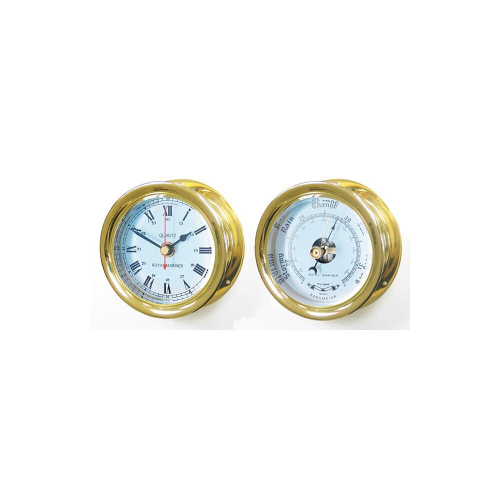 Brass 4 inch Capstan Clock & Barometer