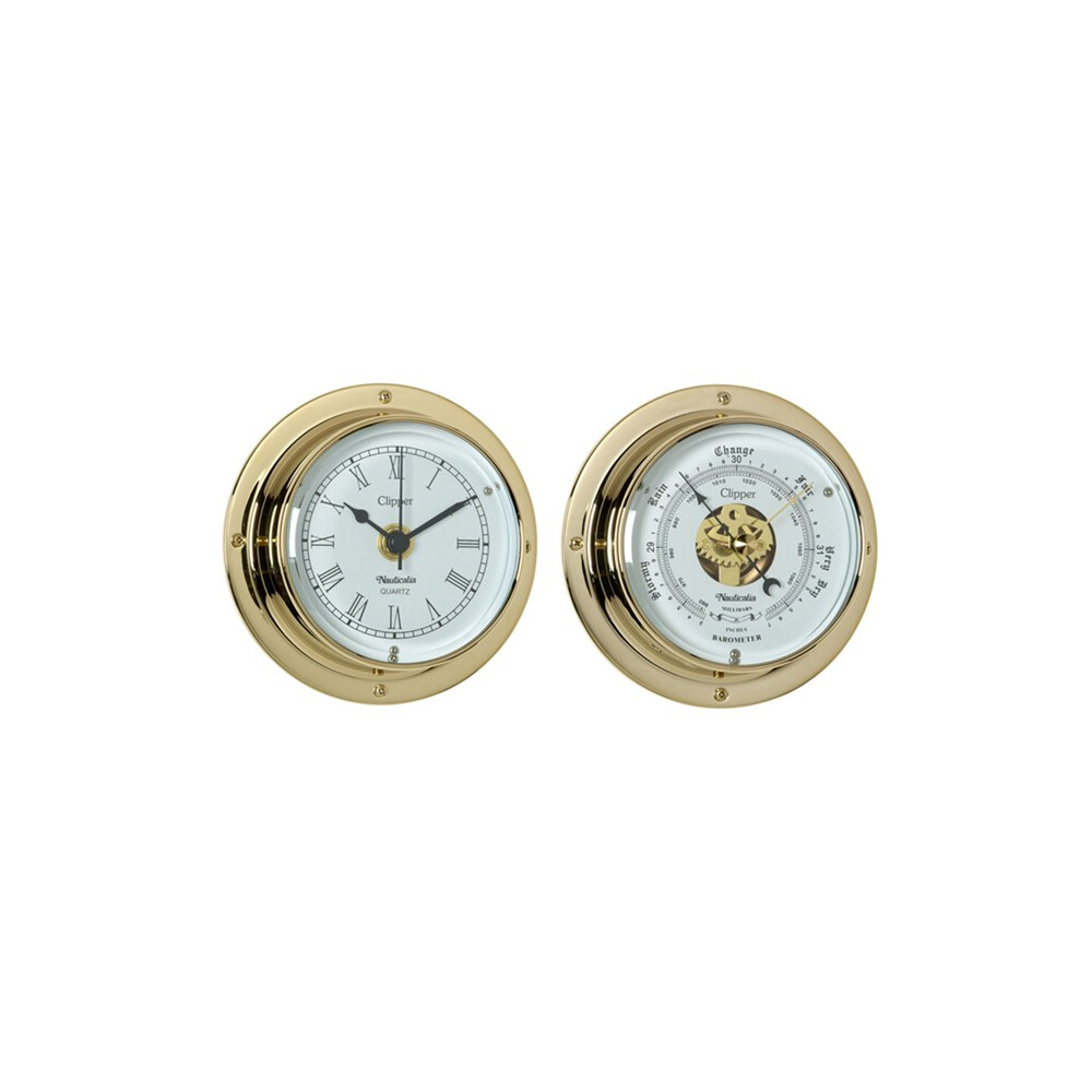 Clipper Brass 3 inch Clock & Barometer