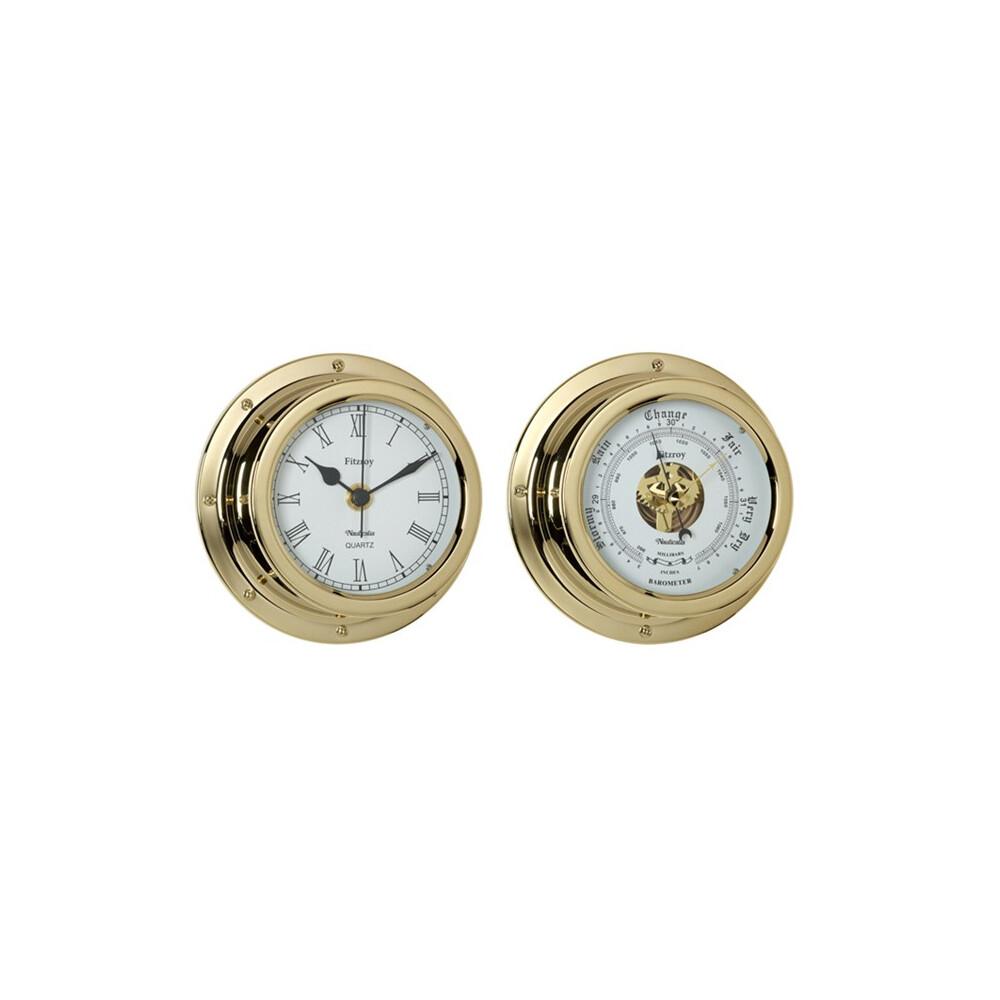 Fitzroy Brass 4 1/2 inch Clock & Barometer