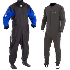 Hypercurve 4 Backzip Drysuit With Free Underfleece - Blue Black