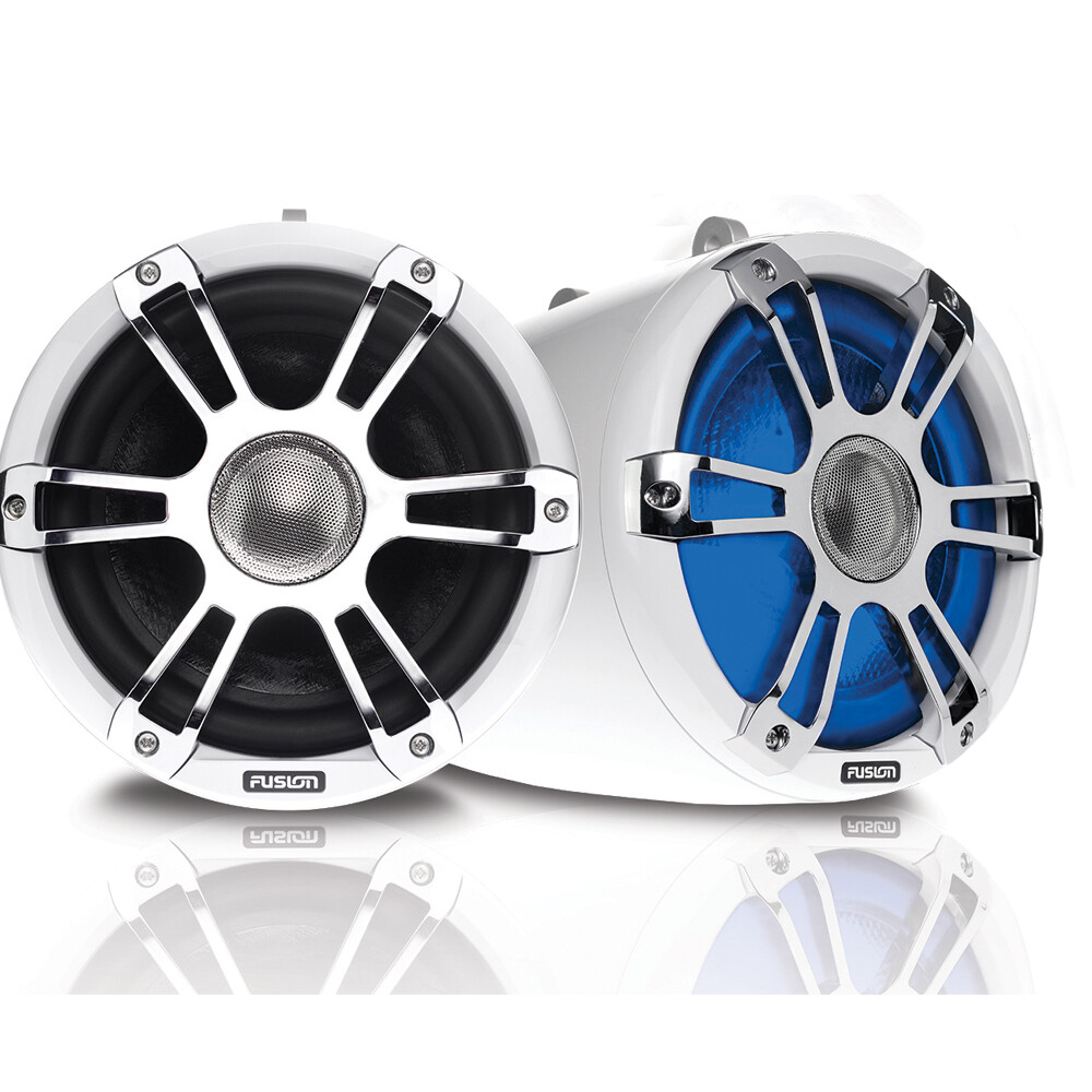 Signature Wake Tower Sports Speakers Chrome White