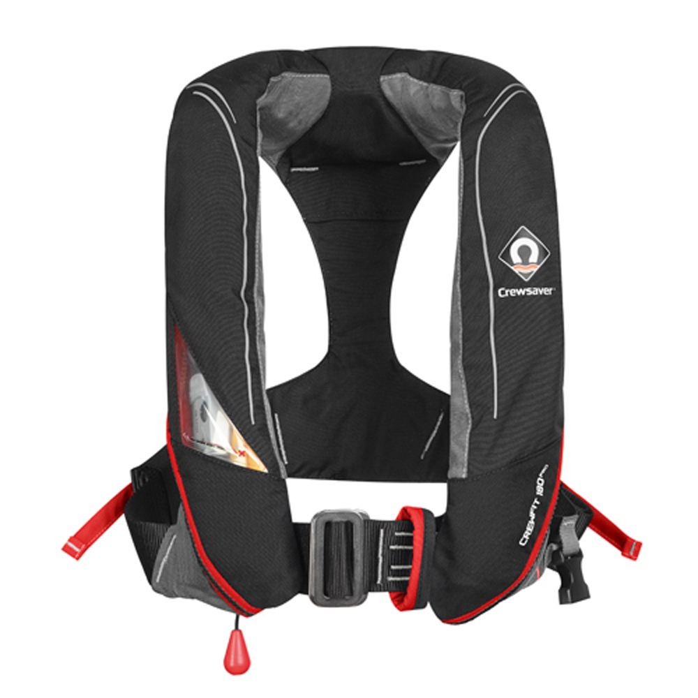 Crewfit 180 Pro Auto Harness Life Jacket - Black Red