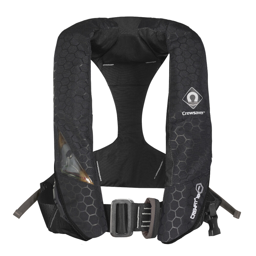 CREWFIT Plus 180N Pro Lifejacket Auto Harn Black Inc Hood & Light