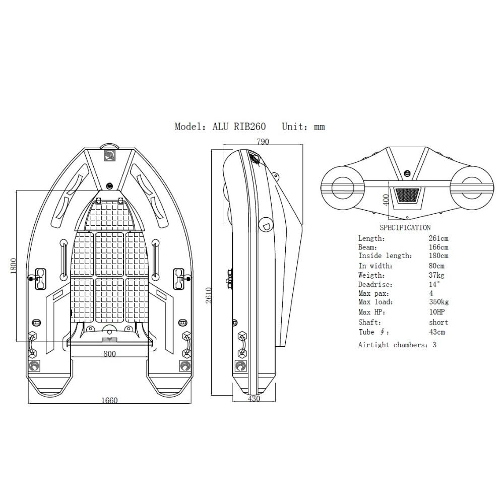 260 Aluminium Hull RIB