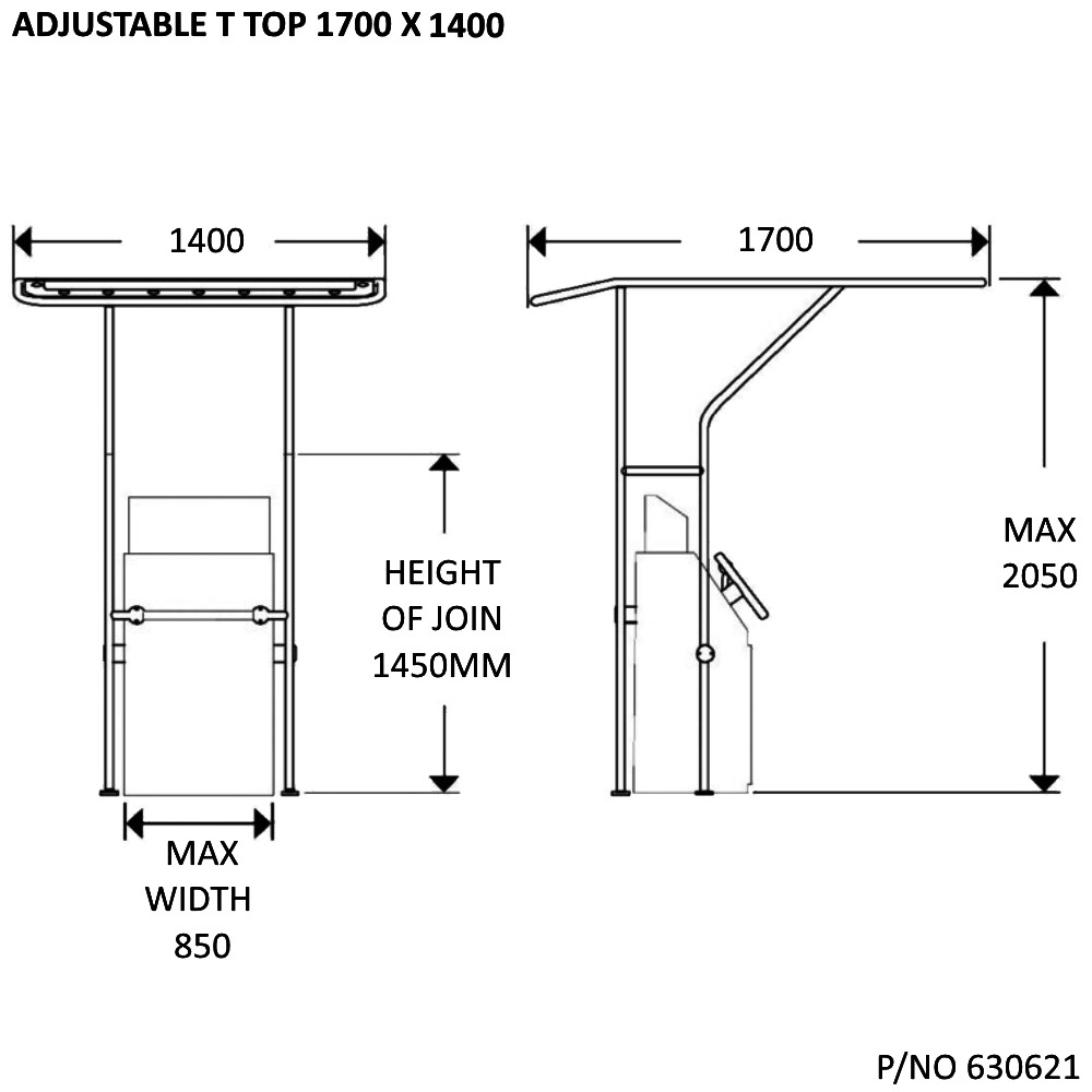 Adjustable T-Top Kit 1700x1400