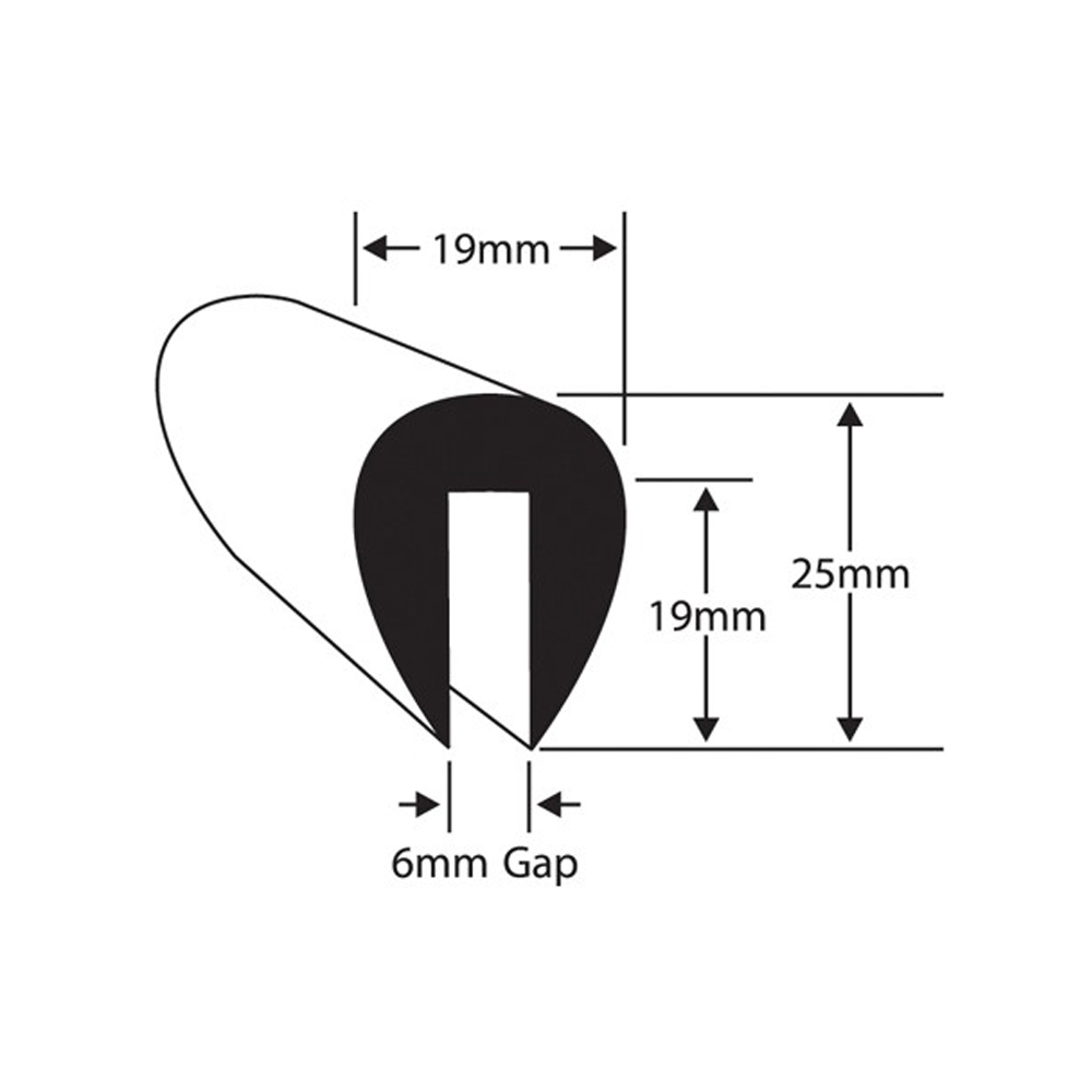 PVC U-Fendering for 6mm Flange