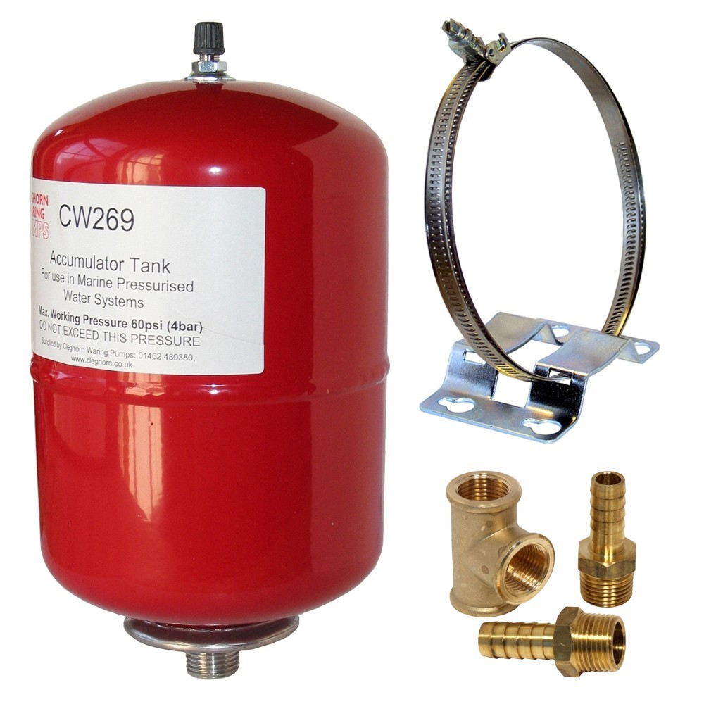 2Ltr Accumulator Tank with Mounting Bracket & Hose Fittings