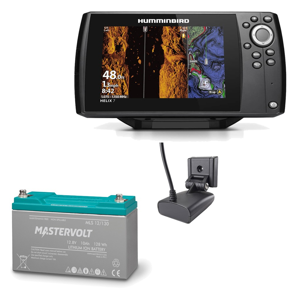 Helix 7 CHIRP MSI GPS G3N Chartplotter Fishfinder and Mastervolt MLS Lithium Ion Battery 10A Bundle