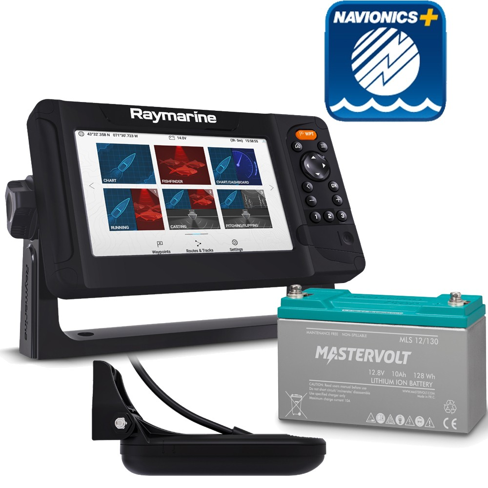 Element 7 HV with HV-100 & Navionics Plus Small and Mastervolt MLS Lithium Ion Battery 10A Bundle