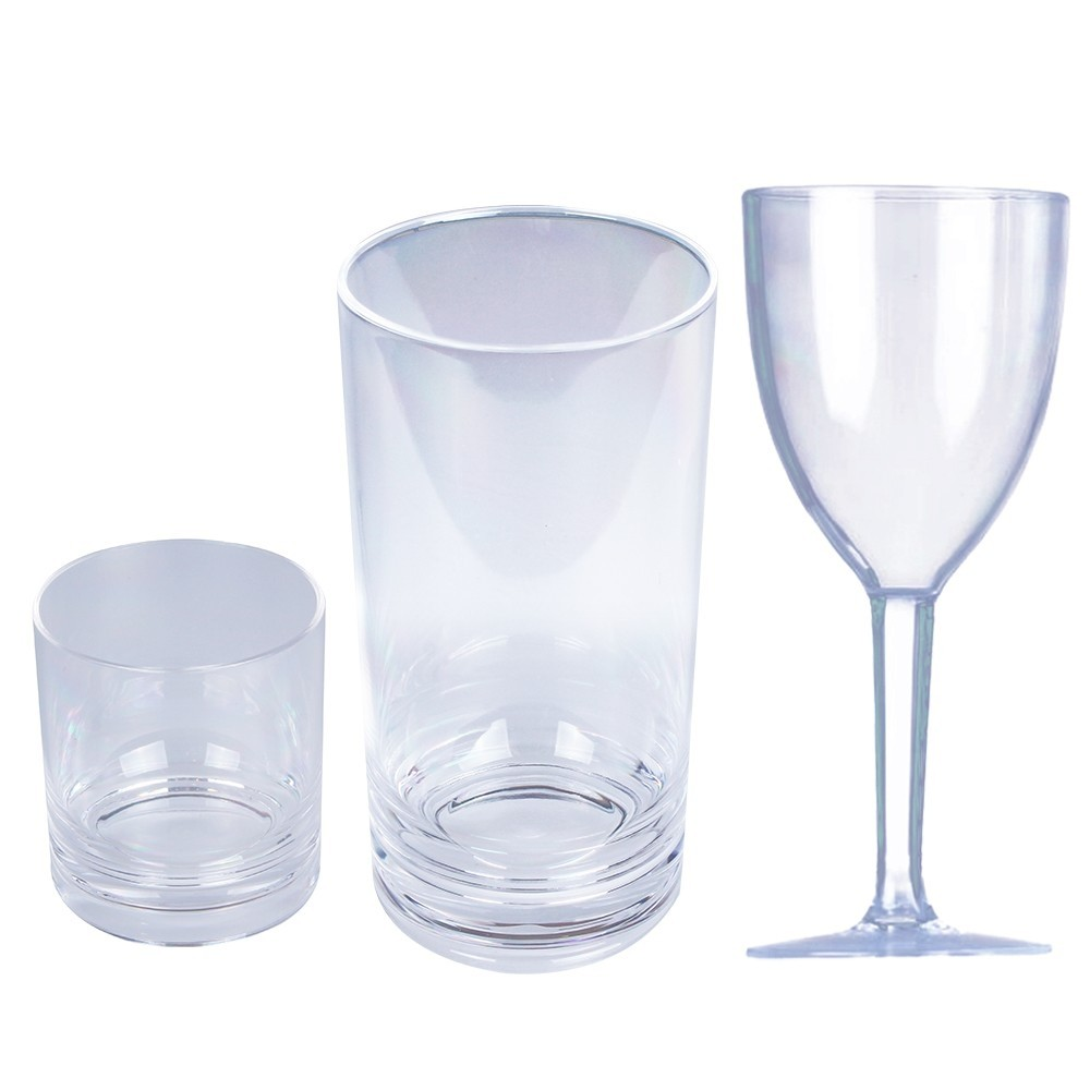 Set of 18 Clear Acrylic Glassware
