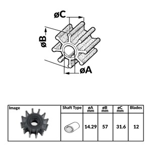Impeller for Volvo and Yanmar Engines