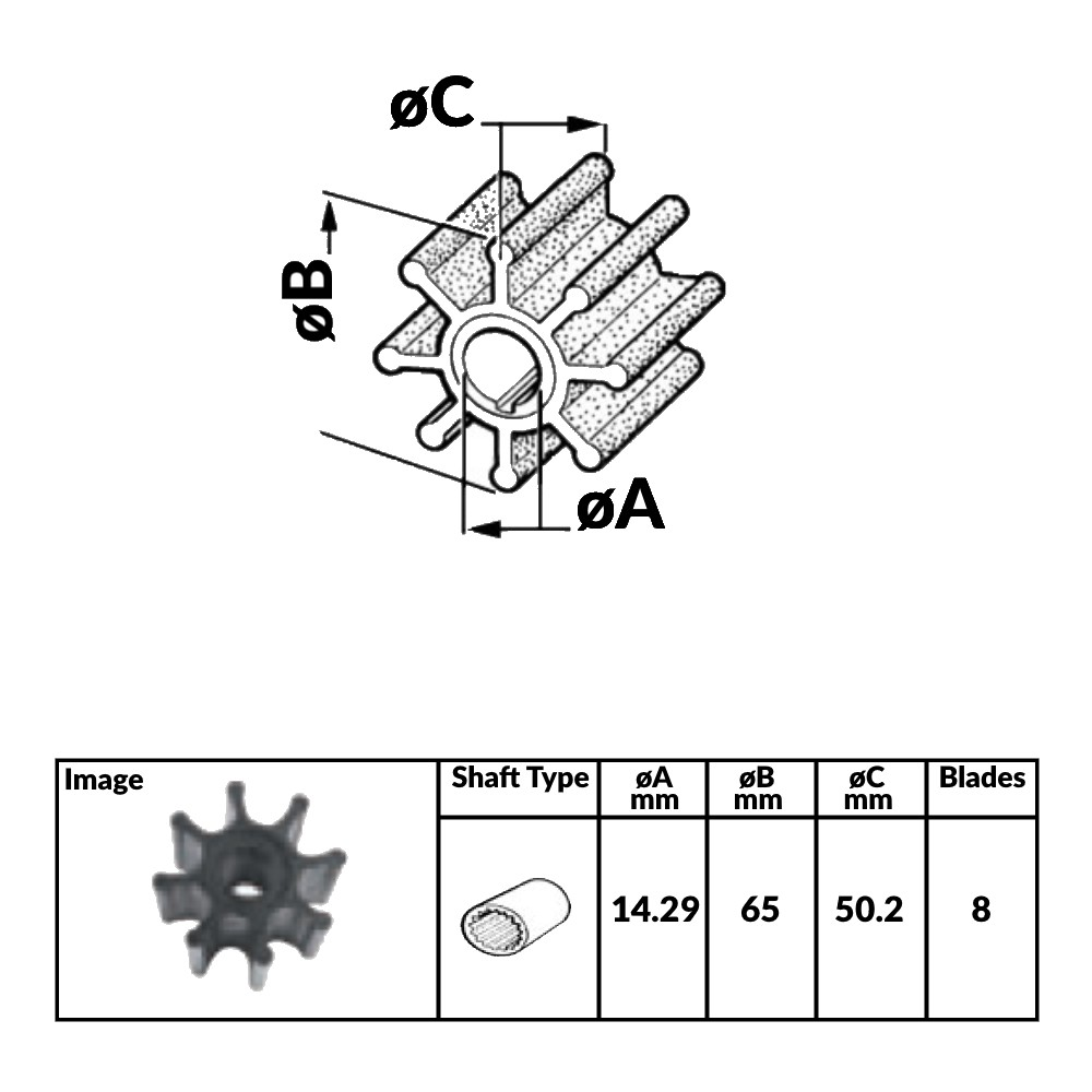 Impeller for Volvo Diesel and Yanmar Diesel Engines