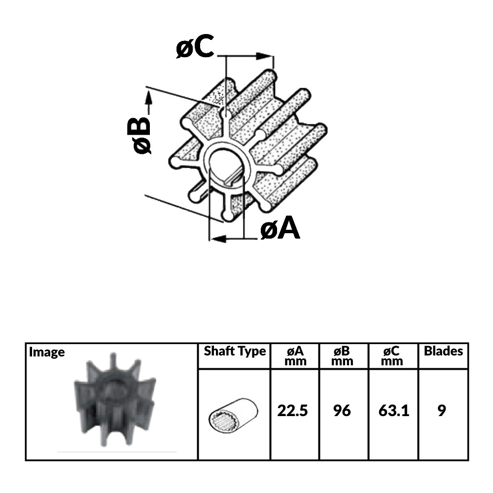 Impeller for Volvo Diesel Engines