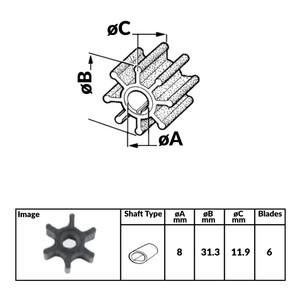 Yanmar Diesel Engine Impeller - 31.3mm