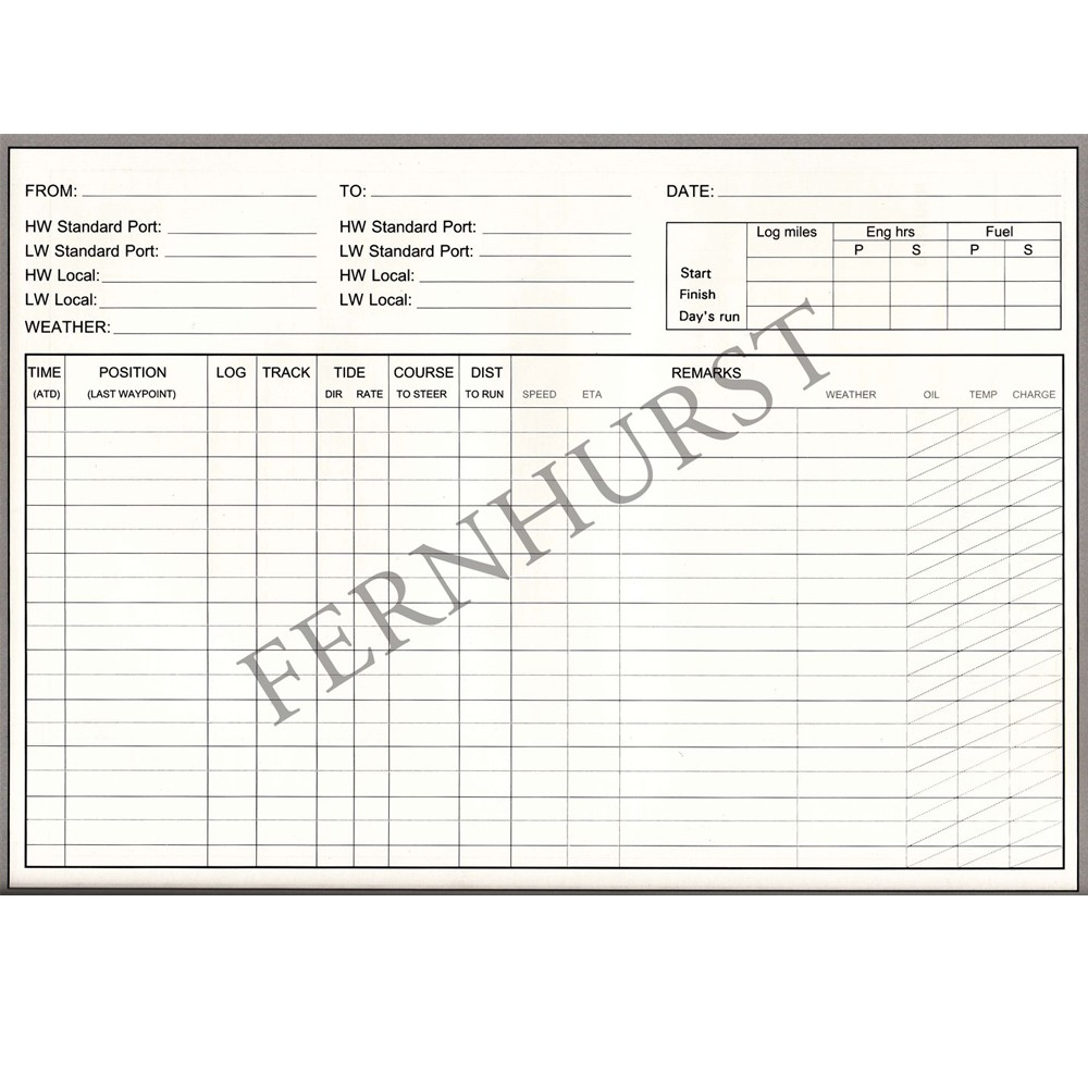 Logbook for Cruising Under Power