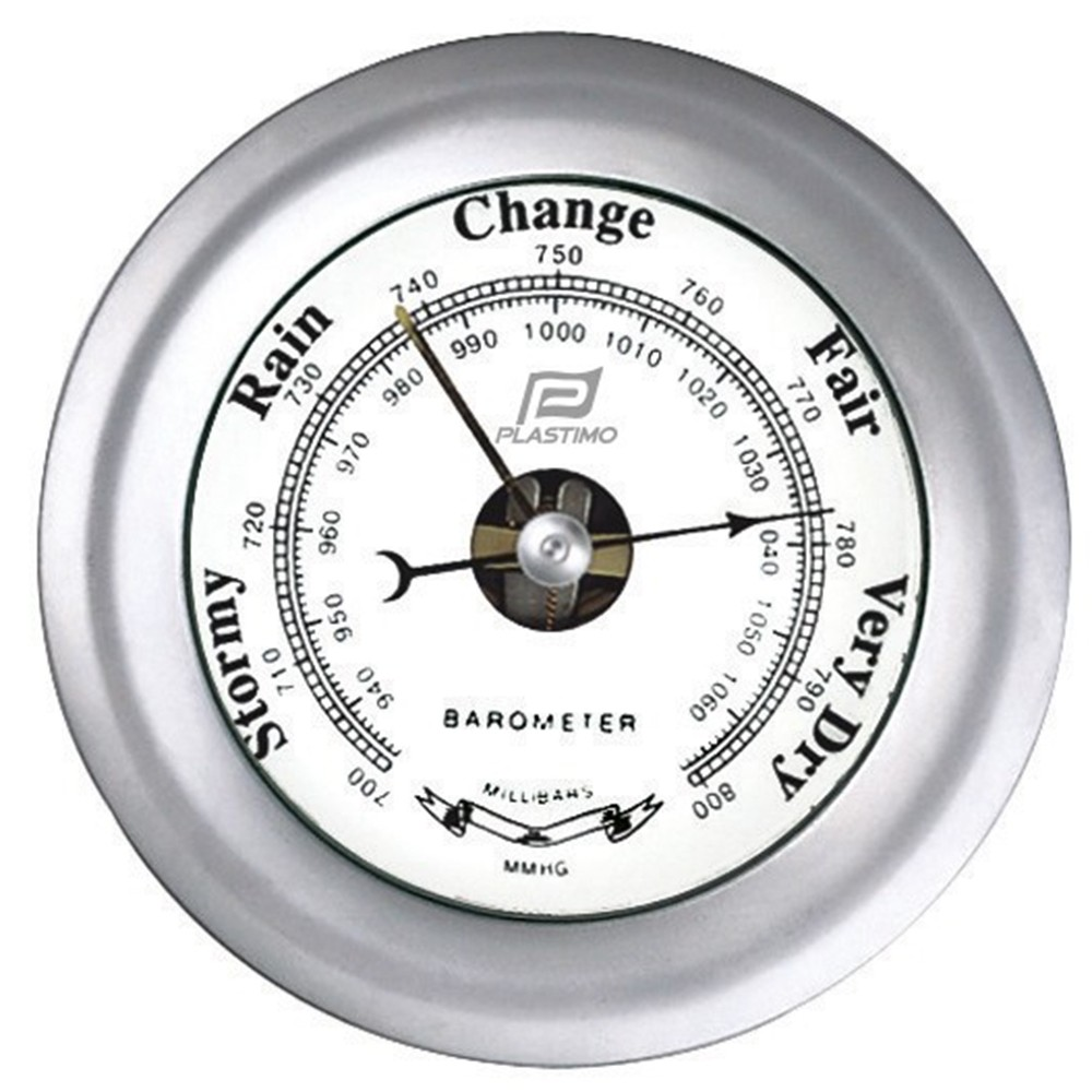 Barometer Matt Chrome 4""