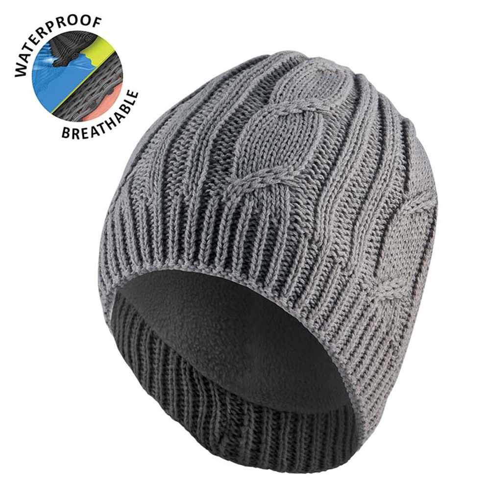Waterproof Cable Knit Beanie Grey L/XL