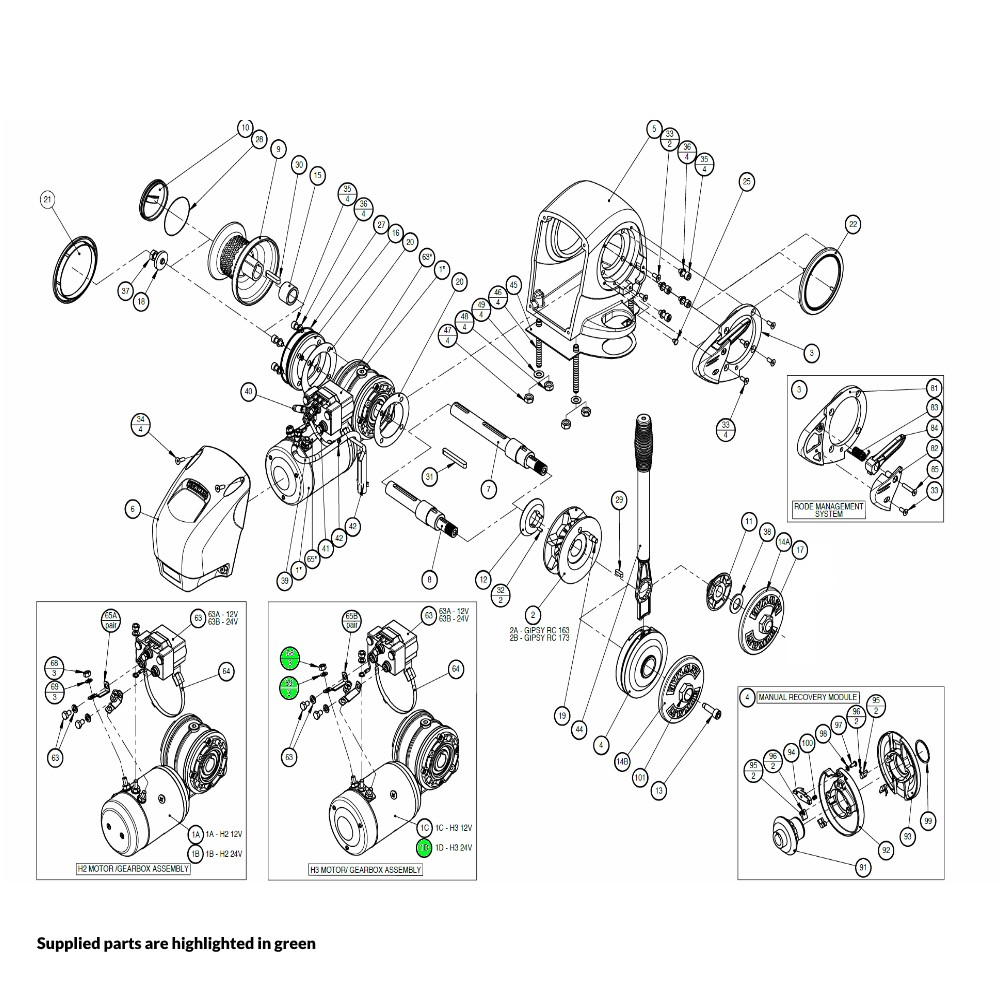 H3 Windlass Motor-Gearbox Assembly 24V