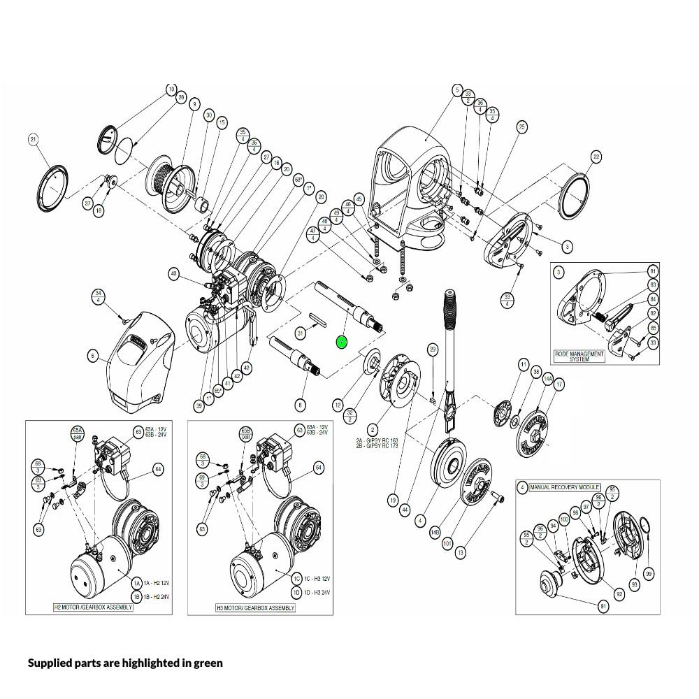 H2-H3 Windlass Mainshaft Gypsy-Drum
