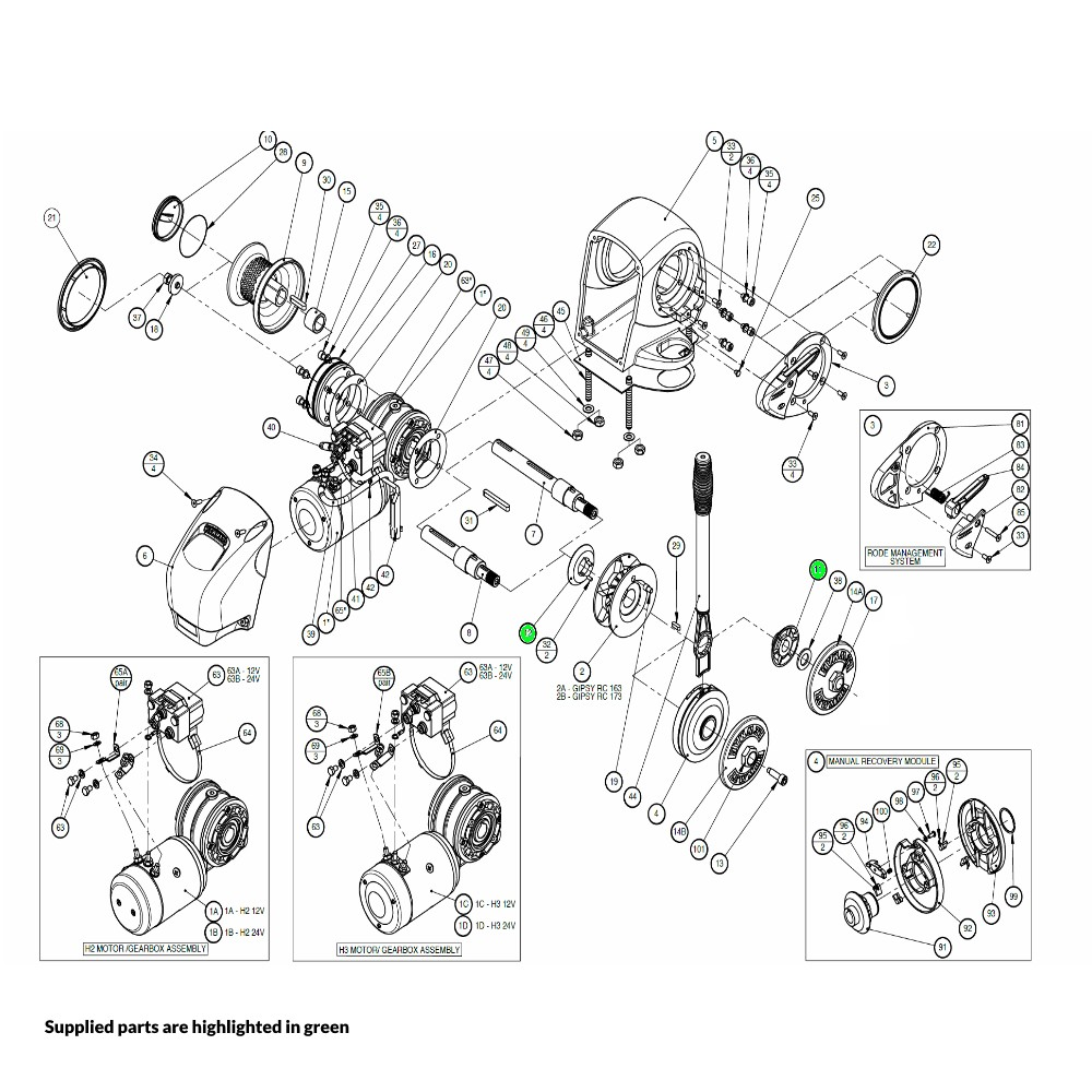 H2-H3 Windlass Drive Cone Kit