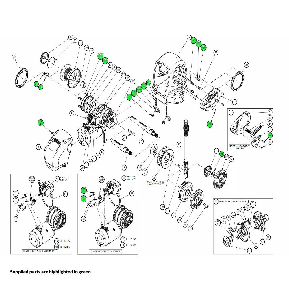 H2-H3 Windlass Fastener Kit