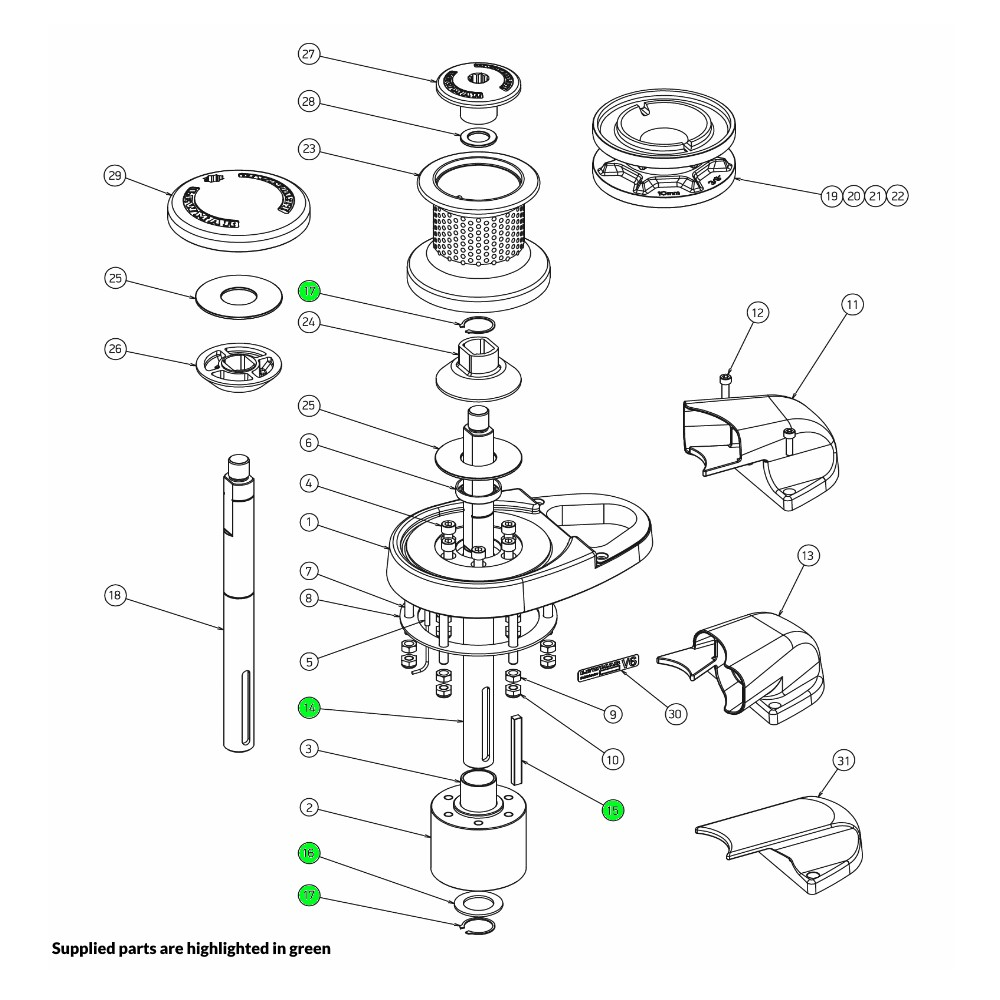 V6 Windlass Mainshaft Kit Gypsy-Drum