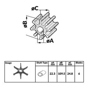 Impeller for Johnson Evinrude 4 Stroke Outboard Engines - 356