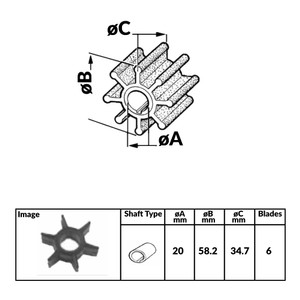 Impeller for Yamaha Mariner 2 and 4 Stroke Outboard Engines - 364