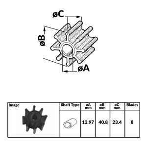 Impeller for Tohatsu 2 and 4 Stroke Outboard Engines - 383